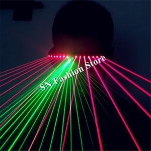 T91 Vermelho óculos de luz laser disco verde dj óculos trajes de dança de salão homem laser show colorido disco robô modelos de desempenho do projetor