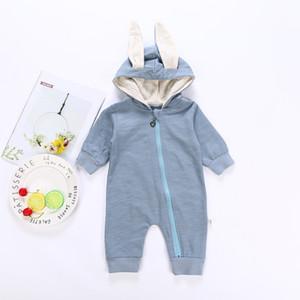 Quenya Cute Rabbit Ear Hooded Baby Pagliaccetti per bambini Ragazzi Ragazze Vestiti per bambini Abbigliamento neonato Tuta Costume neonato Bambino che dorme Outfit