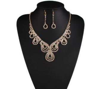 wonderful color cystal diamond pearl wedding bride lady's set necklace earings (21) efe