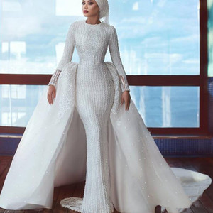 Saudi Arabia Hijab Wedding Dresses with Detachable Train Beading Sequins Mermaid Long Sleeve Muslim Bridal Dresses Gowns