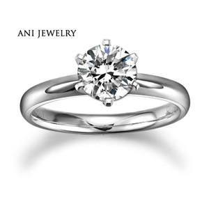 ANI 18K Bianco / Giallo / Oro rosa (AU750) Fede nuziale 0,2 CT H / SI Certificato reale naturale tondo taglio diamante Anello di fidanzamento