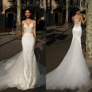 2018 Sexy Milla Nova Lace Mermaid Wedding Dresses Sheer Neck Lace Applique Sweep Train Wedding Dresses Bridal Gowns vestidos de novia