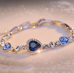 6 Farben Elegante Form Frauen Kristall Armband Plattierung Herzform Anhänger Armbänder für Mädchen schönes Geschenk multi Art des freien Großhandelsschiff
