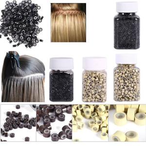 1000 pièces / bouteille doublée de silicium Micro Links Anneaux Perles Extensions de plumes de cheveux 7 couleurs Bague en silicone micro anneau en option