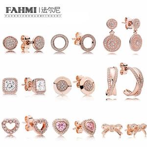 FAHMI100% in oro rosa orecchini in argento Sterling anelli geometrica zircone gocce d'acqua a forma di cuore orecchini di Bowknot Pand