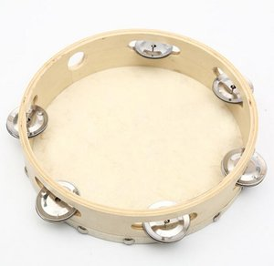 9 inch dance tambourine white sheepskin foam nail drum percussion Musical Percussion Toy For kindergarten teaching wholesale