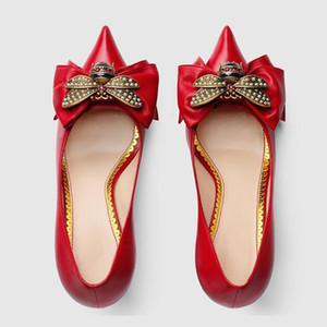 Nuovi Tacchi Alti Scarpe Donna Décolleté Tacco sottile Punta a punta Bowtie Bee Matal Decorazione Zapatos Abito basso