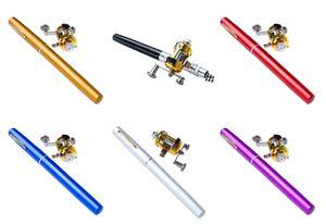 Tragbar Angelrute Mini Rods Eisfischen Werkzeuge 6 Farben-Feder-Form-Taschen-Fisch-Rod Kleine Meeresrute mit Angelrollen