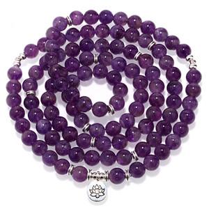 Mcllroy sênior roxo cristal pulseira de pedra natural 108 mala yoga colar fosco amazonita jóias venda quente 2018