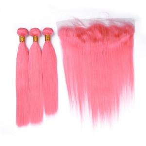 Soie Droite Pure Pink Virgin Brésiliens Bundles de cheveux avec 13x4 Full Lace Frontale Fermeture Light Pink Virgin Hair Trame Extensions