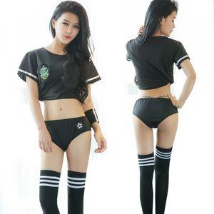 Girls sexy school uniform erotic cheerleading cosplay costumes night club wear black two-pieces set temptation sexy costumes