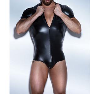 Сексуальная искусственная кожа мужская нижнее белье нижнее белье боди борьба Синглет сиамские боксеры экзотические гей яркие короткие комбинезоны купальник костюм