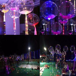 Al por mayor - 2017 New Light Up Toys LED String Lights Flasher Lighting Balloon Wave Ball 18 pulgadas Helio Globos Navidad Halloween Decoratio