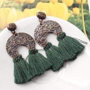 Bronze rústico pingente multi cores de seda borla brincos Fringe earrings Ear jóias Bohemian jóias Presente para ela