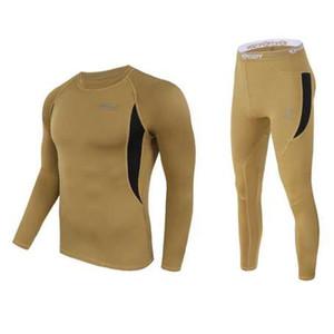 Erkek taktik polar termal iç çamaşırı ter hızlı kuruyan termo iç çamaşırı erkek nefes esneklik Paçalı don pantolon üstleri set