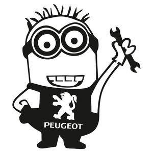 Autocollant de voiture Peugeot autocollant vinyle Minion travailleur drôle Dope pare-chocs