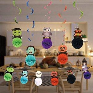Novo Fantasma Corujas Padrões de Abóbora Papel Bandeira Bandeira Halloween Garland Party Hotel Decoração Horror Halloween Suprimentos