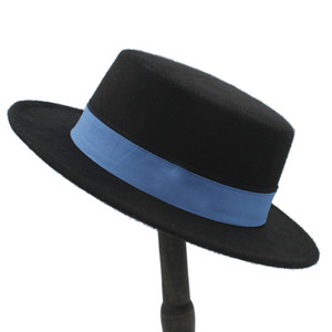 Nouveau millésime Unisexe mélange de laine melon Cap Boater Sailor Cap large bord porc Tarte Chapeau Flat Top Hat Jazz chapeau blanc bande de ruban blanc