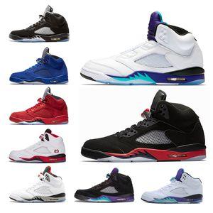 Nike air jordan retro 5 Saten Bred Taze Prens erkekler Basketbol Ayakkabı Siyah Metalik Beyaz Çimento kırmızı Mavi süet Yangın Kırmızı Üzüm kanatları spor Sneaker eur 41-47