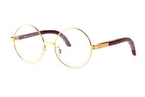 Мода Полный сплав рамы Круглые очки для мужчин Женщины Vintage золото Металл Белый Дерево Бамбук Буффало солнцезащитные очки с коробки
