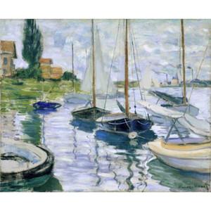 Belle peinture à l'huile de Claude Monet Bateaux au repos, à Petit-Gennevilliers art sur toile peinte à la main de haute qualité