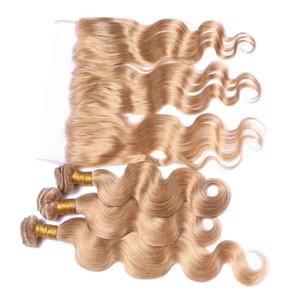 Honig Blonde Ohr zu Ohr Spitze Frontal Schließung 13x4 mit Bundles Körperwelle # 27 Strawberry Blonde Malaysische Haarwebart Bundles mit Frontal