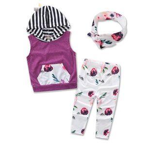 Ins babys Summer Kids Clothing Sets Baby Girl Sleeveless Floral Print Hoodies+Long Pants + Headband 3pcs Sets Cotton Clothes Suits