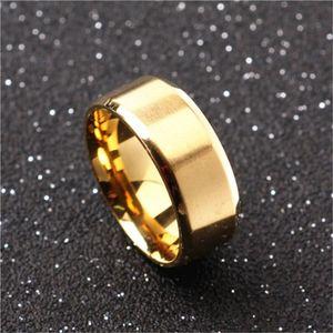 Men, Siyah / Altın Kaplama / Gümüş için Kadın Erkek Düz Bant Ring için 8mm Paslanmaz Çelik Yüzük Alyans