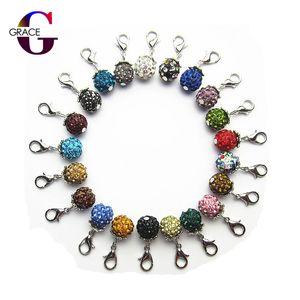 Mix rastgele renk taklidi kristal dangle charms istakoz kapat yüzer charms asılı charms aksesuarları diy takı fit kadınlar bilezik