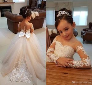 Vestidos Primera Comunion Two Piece Ball Gown Flower Girl Dress Pizzo Bambino Glitz Pageant Abiti Piuttosto Bambini Prom Gown098