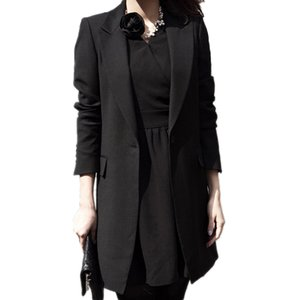 Al por mayor-Primavera Mujeres Slim Blazer Coat 2017 Nueva Moda Negro Chaqueta Casual manga larga Un botón traje Ladies Blazers Work Office Wear
