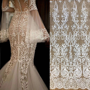 Blanc français robe de mariée en dentelle broderie tissu vintage Matériaux de décoration de vêtements de gaze accessoires de bricolage en dentelle JZ01 tissu