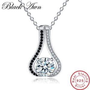 [Black AWN] echte 925 sterling silber halskette für frauen kürbis halsketten anhänger schwarz spinell sterling silber schmuck p048