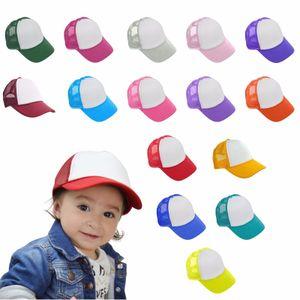 15 renkler Çocuklar Beyzbol Şapkası Yetişkin Örgü Kapaklar Boş Trucker Şapkalar Snapback Şapkalar Kız Erkek Toddler Kap GGA326