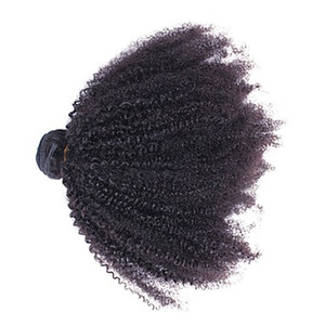 """Mongolian Afro Kinky Curly Virgin Hair Weave 100% Unprocessed Human Remy Hair Bundles 10-30"""" Natural Color Double Weft Hair Extensions"""