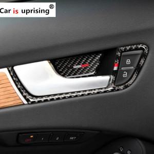 Fibre De Carbone Voiture Intérieur Porte Poignée Couverture Garniture Porte Bol Autocollants décoration pour Audi A4 2009-2016 Voiture accessoires Styling