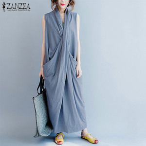 ZANZEA Women Long Dress 2018 Summer Sleeveless Casual Deep V Neck Allentato Irregolare Maxi Vestido Boho Beach Party Robe Femme 5XL