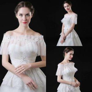 Billig Bridal Wraps bescheidene Spitze Applique Rhinestones aus dem Schulterschal für Brautkleider Nützliche Kleid Zubehör
