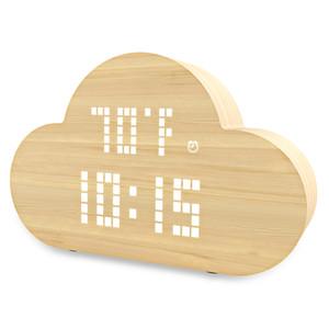 자동 전자 시계 충전기 시간 / 온도 / 습도 LED 지능형 알람 시계 음성 제어 침실 구름 시계