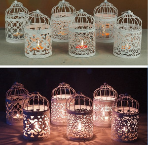 6 style Romantic Hollow Hanging Bird Cage Candle Holder Candlestick Lantern wedding hotel bar decorative lights Home dinner Planter Decor