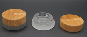5 ml bambu kapaklı buzlu şeffaf cam kavanoz balmumu kozmetik krem kavanoz konteyner 5g saklama kabı 2018 en popüler öğeler