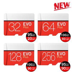 EVO Plus 32GB 64GB 128GB 256GB TF Flash Memory Card C10 Class 10 EVO + Card with Free SD Adapter Retail Package