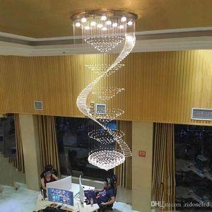 Iluminación contemporánea de lujo de la escalera Lámpara LED de cristal K9 larga Montaje empotrado grande Lámpara de techo interior LED Luminaria de cristal colgante