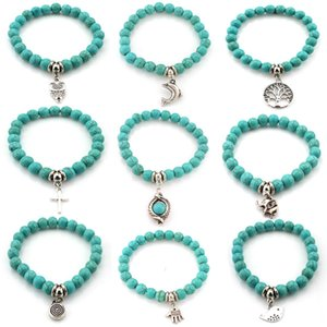 Perles Bracelets 7mm Turquoise Perles Bracelets Life Tree Owl Éléphant Animaux Alliage Pendentifs Bracelet Bijoux De Mode
