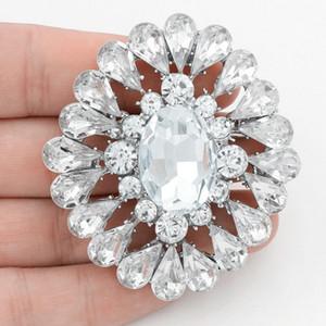 Diseñador de lujo Cystal Wedding Bridal Bouquet Broche de gran tamaño Diamante Broche de plata para mujeres de calidad superior