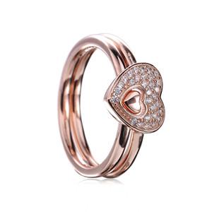 18 ct plaqué or rose sur 925 argent sterling chatoyant puzzle anneau de coeur fit pandora charme bijoux de fiançailles amants de mariage anneau de mode