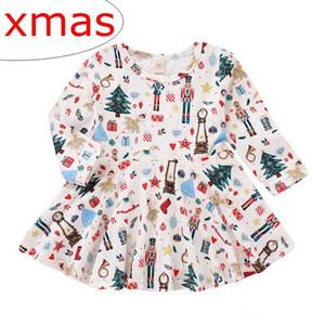 INS Bebek Kız Noel Elbise Çocuklar Kardan Adam XMAS Ağacı Baskı Elbise Çocuk Uzun Kollu balo