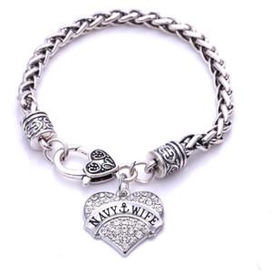 HouHui силы Jewwelry гравирует жена моряка браслет ожерелье кулон подвески ювелирные изделия родием Кристалл ювелирные изделия шкентель руки