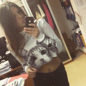Neue Herbst Frauen Casual Pullover Harajuku Mode Ernte Polyester Tops Rundhals Langarm Damen Katze Short Cropped Sweatshirt Hot