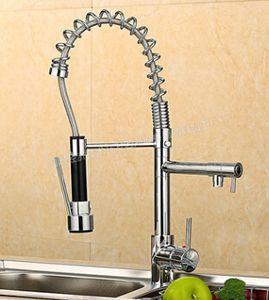 Al por mayor-Venta caliente Chrome Brass Spring Kitchen Faucet Single Handle Hole Dual Sprayer Vessel Bar Fregadero grifo mezclador Tap